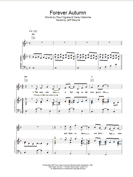 Jeff Wayne Forever Autumn (from War Of The Worlds) sheet music notes and chords. Download Printable PDF.