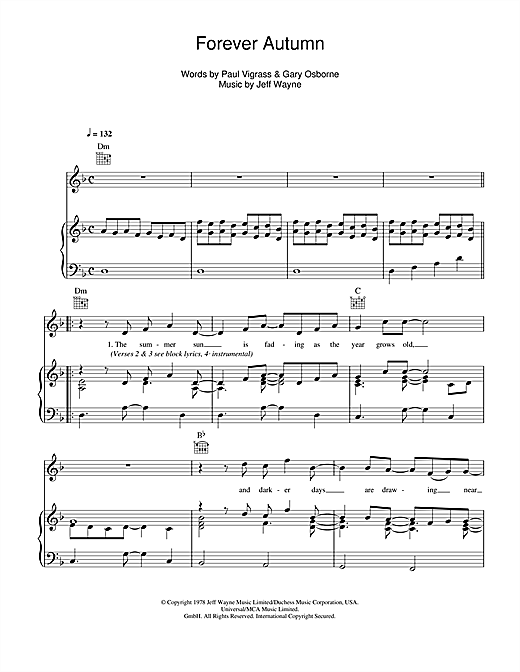 Jeff Wayne Forever Autumn (from War Of The Worlds) sheet music notes and chords