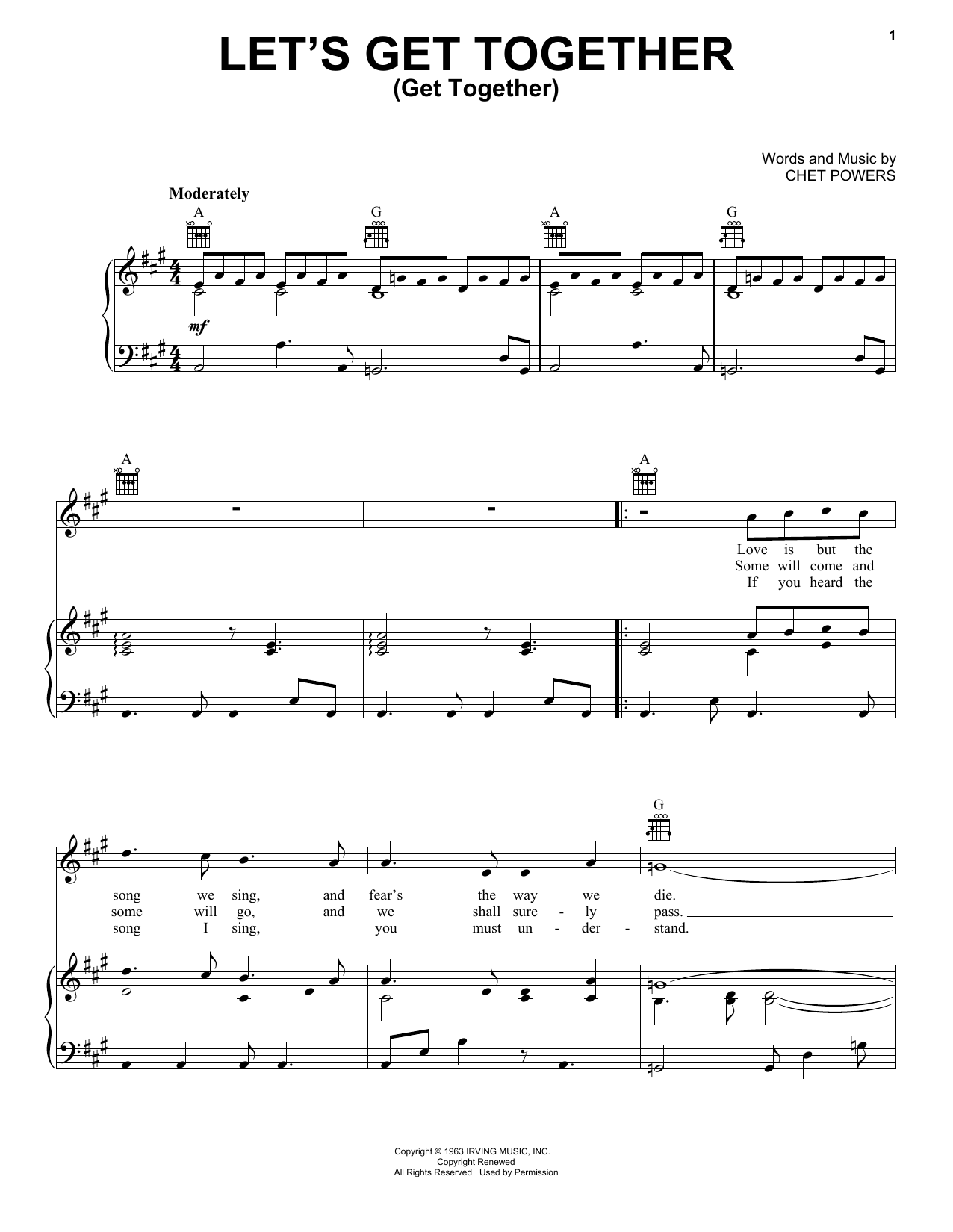 Jefferson Airplane Let's Get Together sheet music notes and chords. Download Printable PDF.