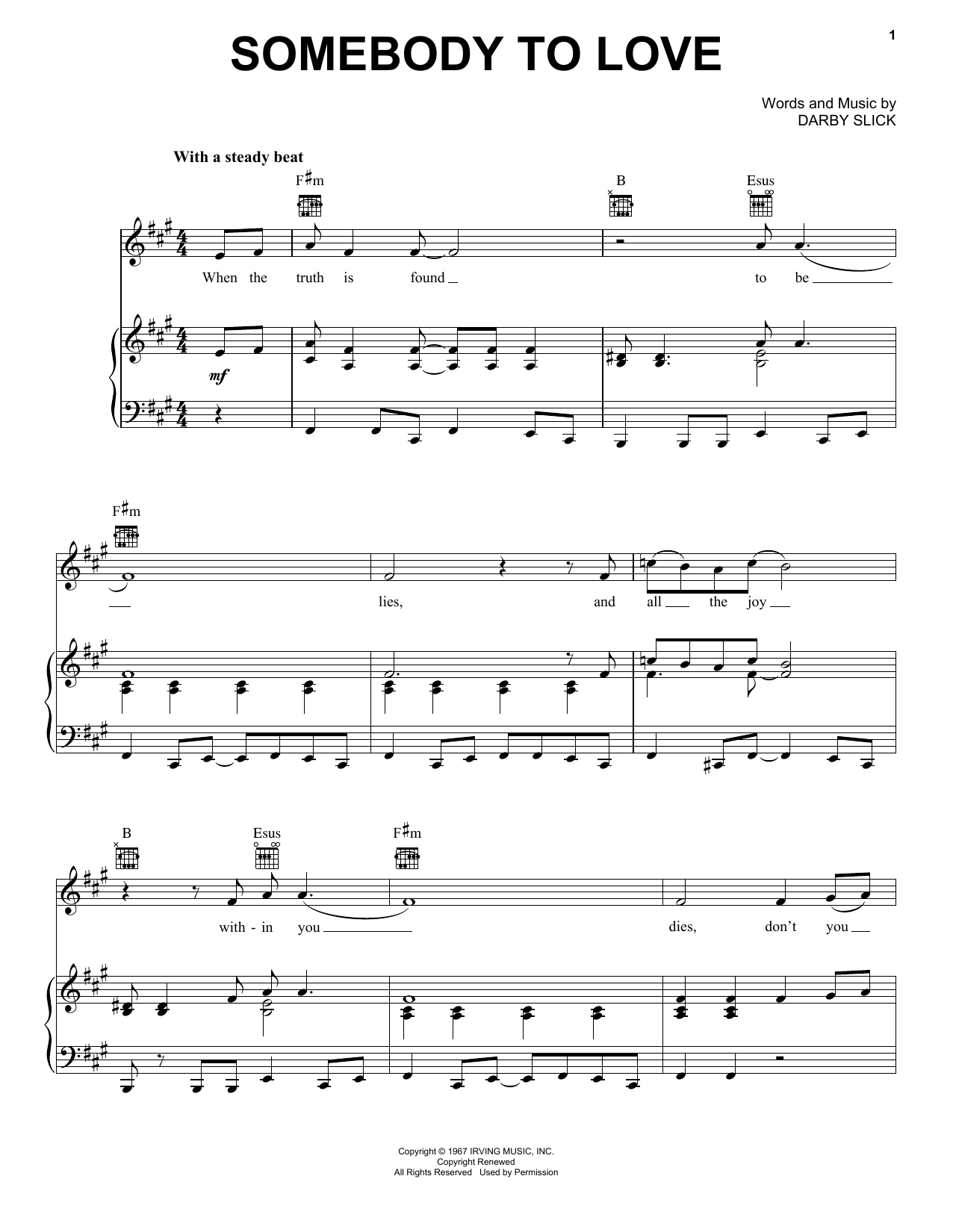 Jefferson Airplane Somebody To Love sheet music notes and chords. Download Printable PDF.