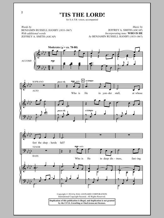 Jeffrey A. Smith 'Tis The Lord! sheet music notes and chords. Download Printable PDF.