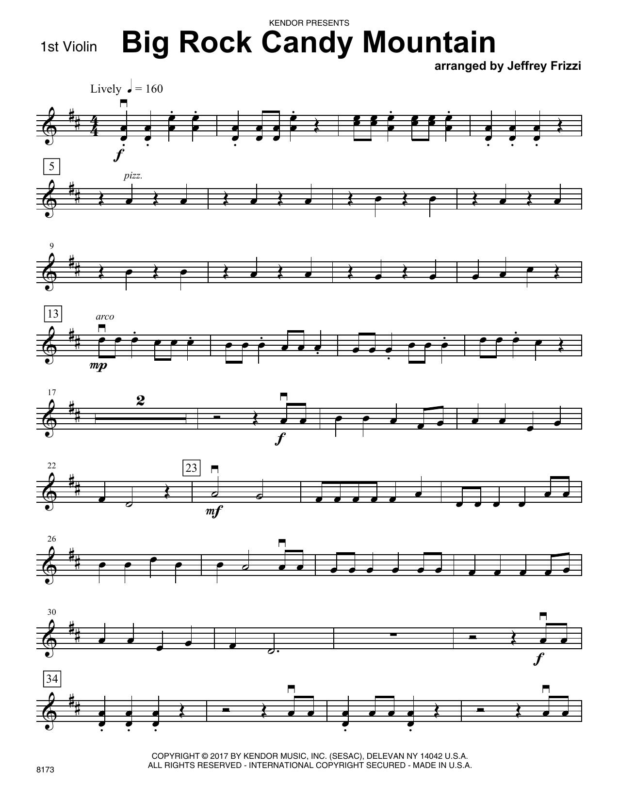 Jeffrey Frizzi Big Rock Candy Mountain   15st Violin Sheet Music Notes,  Chords   Download Printable Orchestra PDF Score   SKU 15