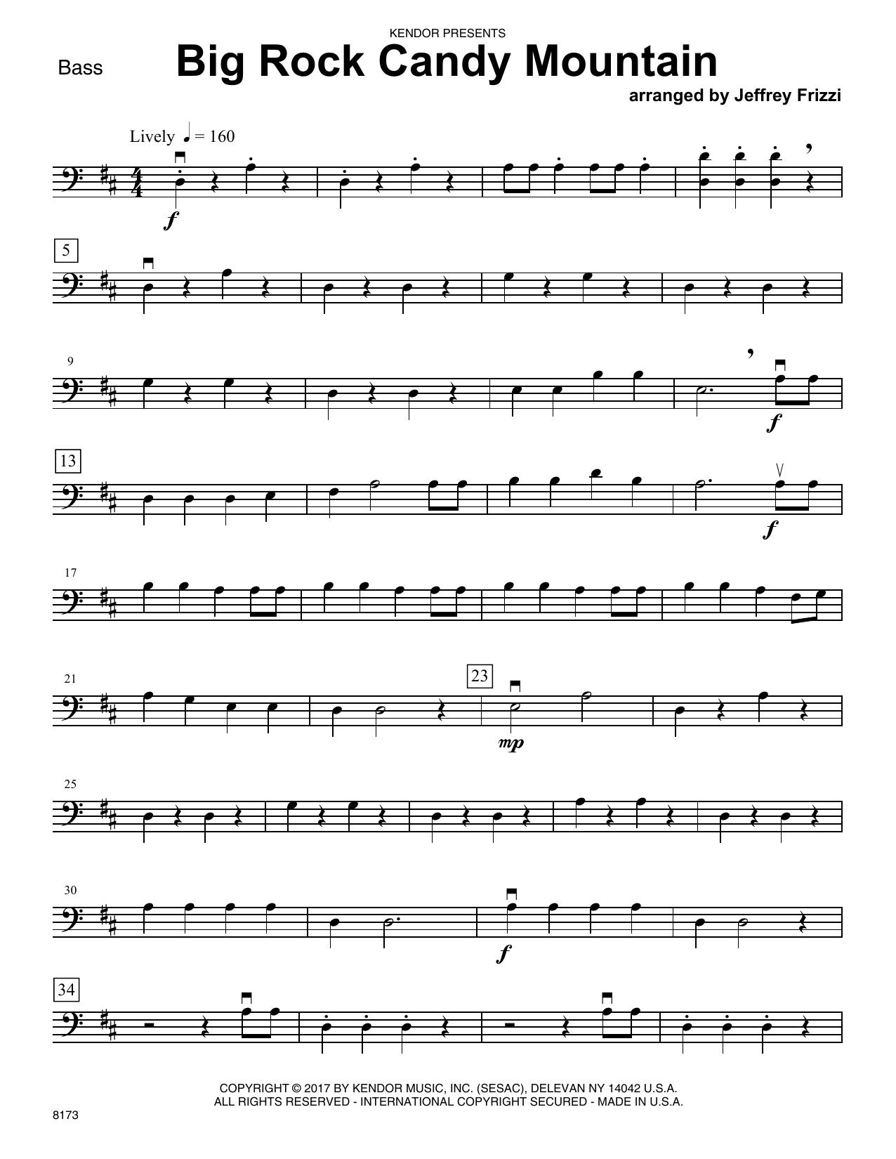 Jeffrey Frizzi Big Rock Candy Mountain   Bass Sheet Music Notes, Chords    Download Printable Orchestra PDF Score   SKU 15