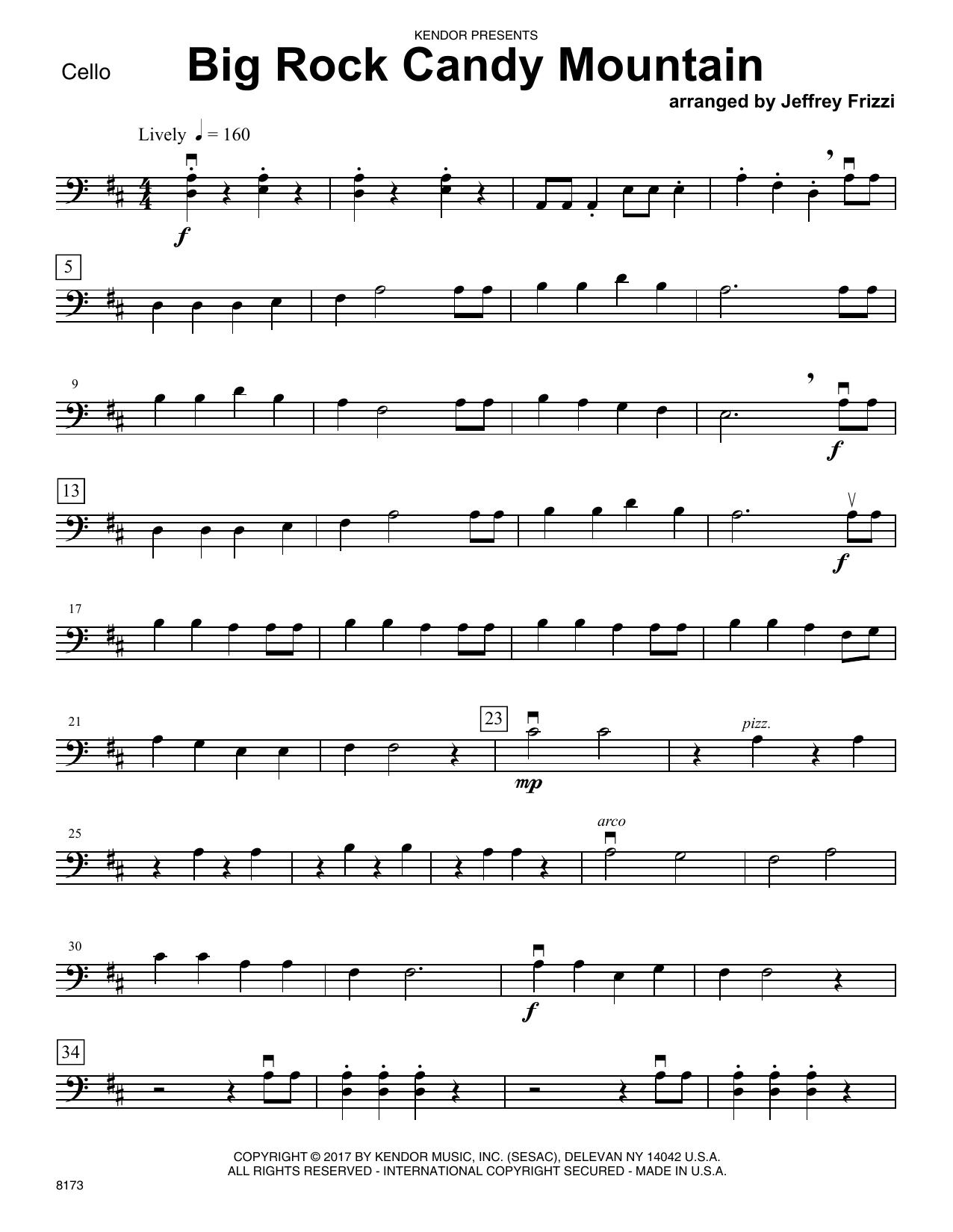 Jeffrey Frizzi Big Rock Candy Mountain   Cello Sheet Music Notes, Chords    Download Printable Orchestra PDF Score   SKU 15