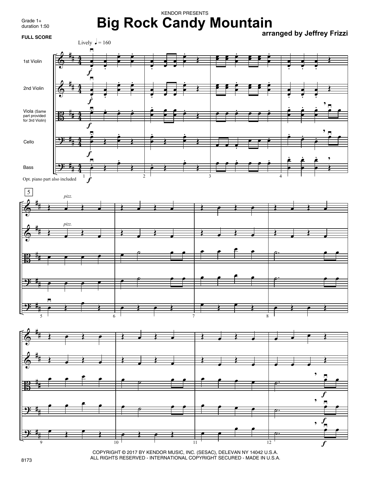 Jeffrey Frizzi Big Rock Candy Mountain   Full Score Sheet Music Notes,  Chords   Download Printable Orchestra PDF Score   SKU 15