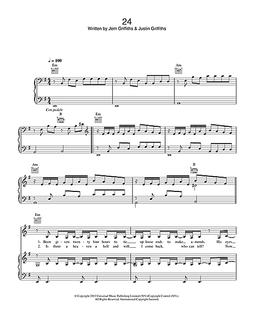 Jem 24 sheet music notes and chords. Download Printable PDF.