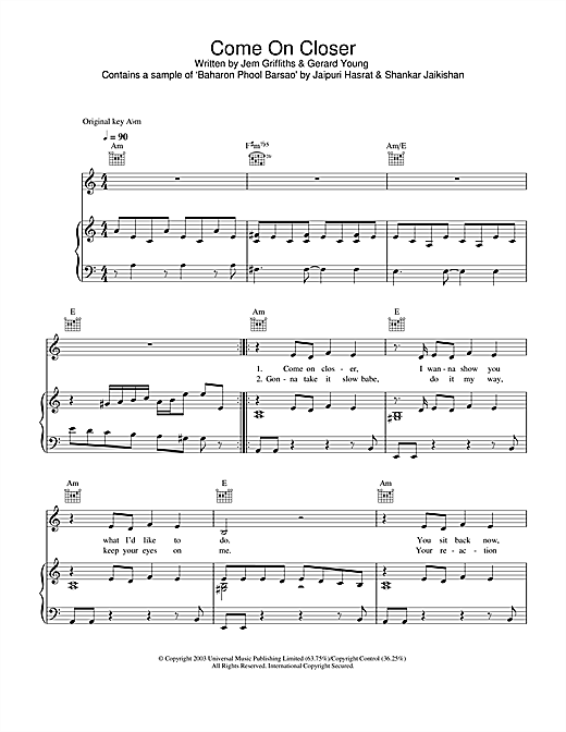 Jem Come On Closer sheet music notes and chords. Download Printable PDF.