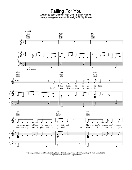 Jem Falling For You sheet music notes and chords. Download Printable PDF.
