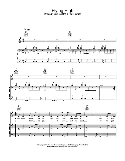 Jem Flying High sheet music notes and chords. Download Printable PDF.