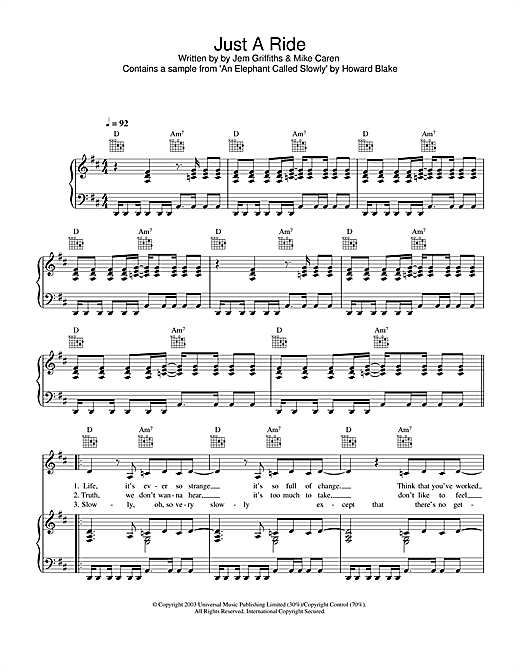Jem Just A Ride sheet music notes and chords. Download Printable PDF.