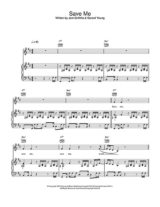 Jem Save Me sheet music notes and chords. Download Printable PDF.