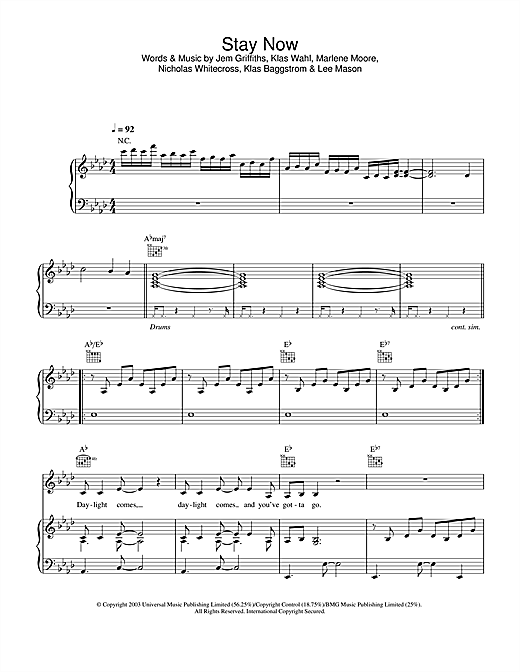 Jem Stay Now sheet music notes and chords. Download Printable PDF.