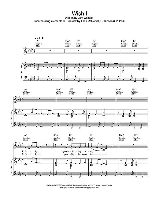 Jem Wish I sheet music notes and chords. Download Printable PDF.
