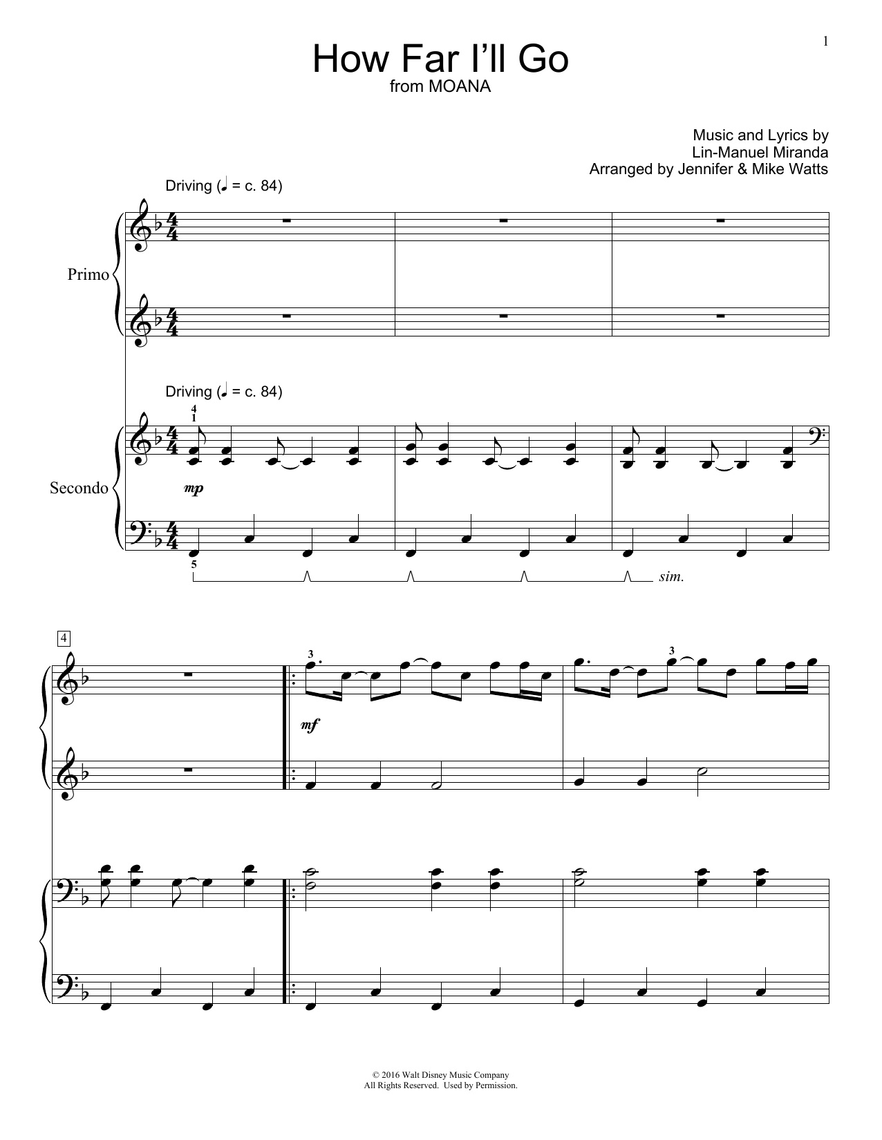 Jennifer and Mike Watts How Far I'll Go (from Moana) sheet music notes and chords. Download Printable PDF.