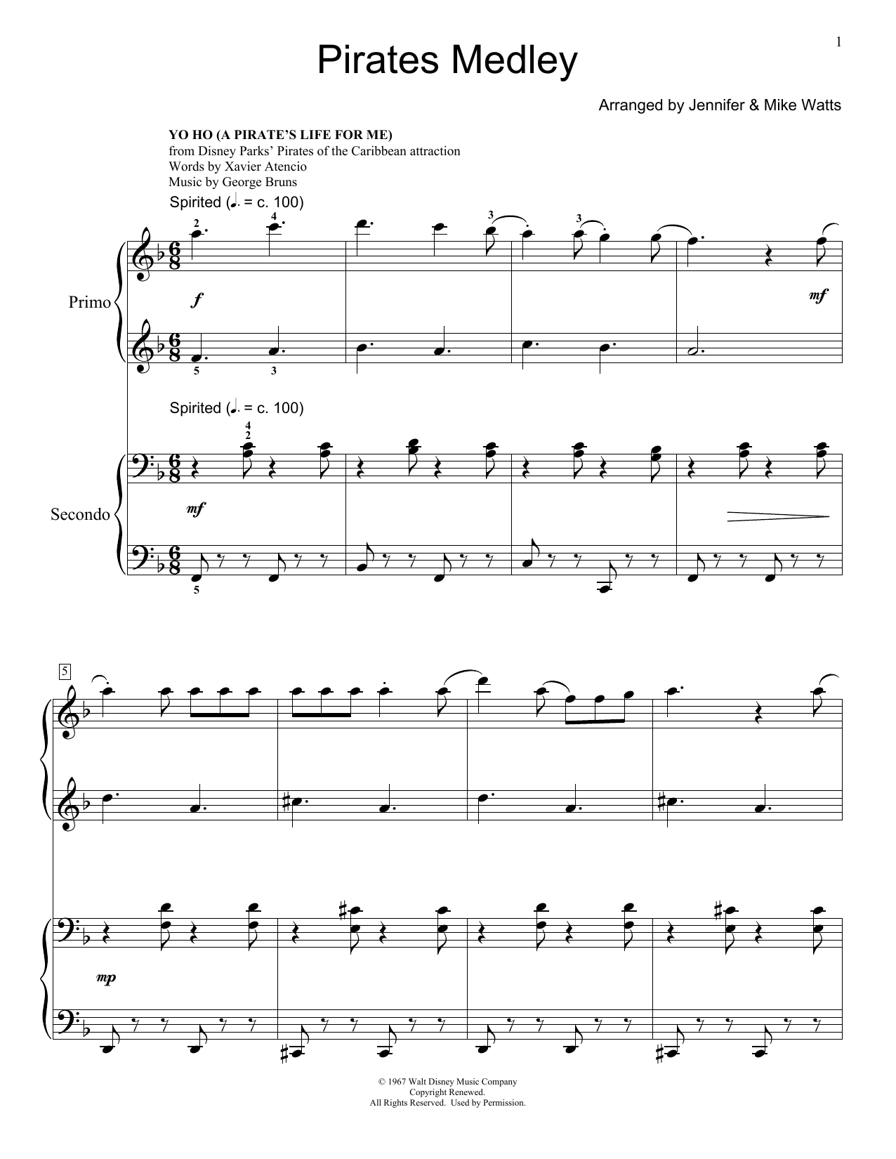 Jennifer and Mike Watts Pirates Medley sheet music notes and chords. Download Printable PDF.