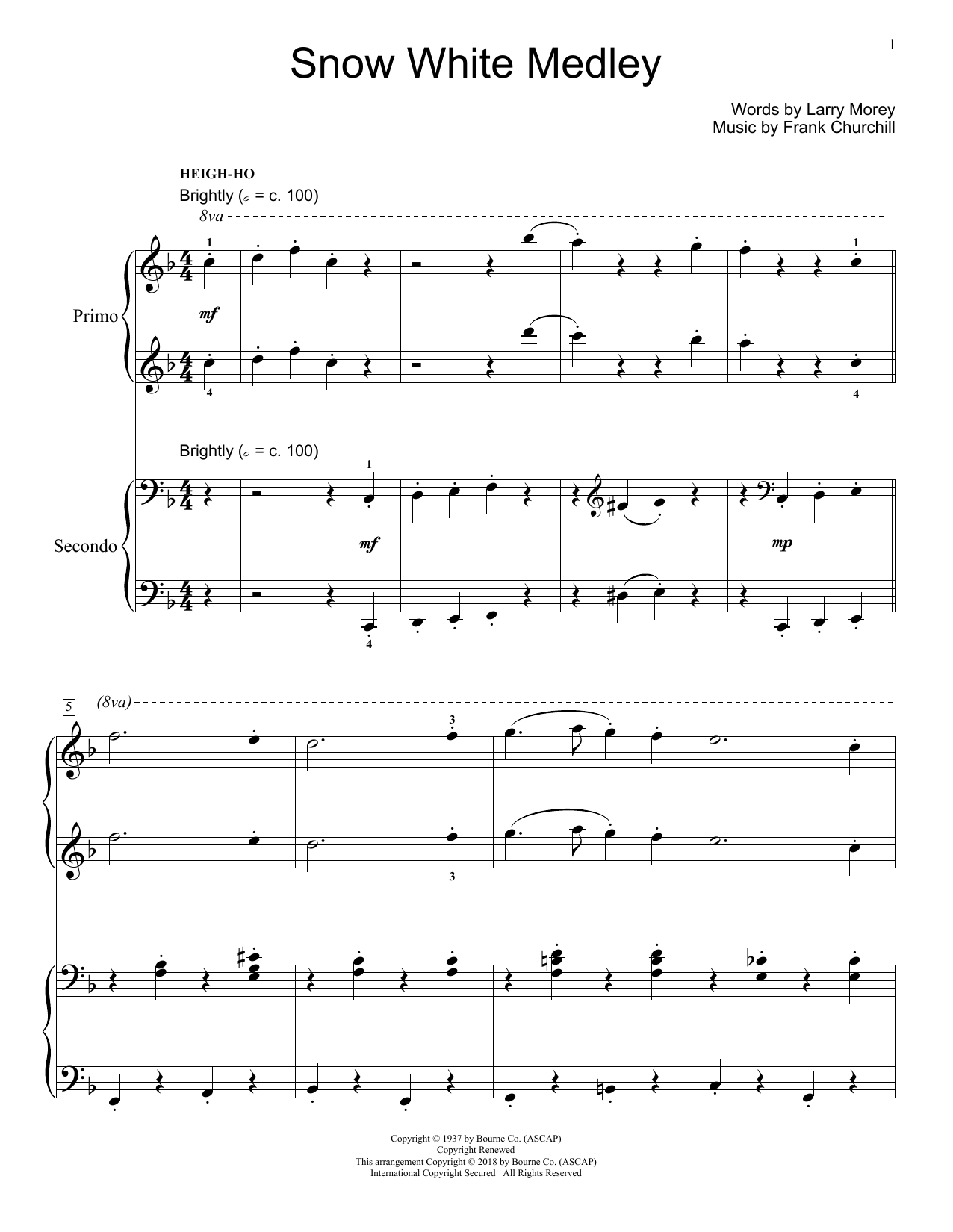 Jennifer and Mike Watts Snow White Medley sheet music notes and chords
