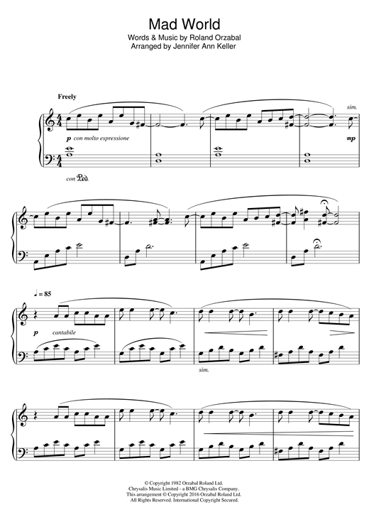 Jennifer Ann Mad World sheet music notes and chords