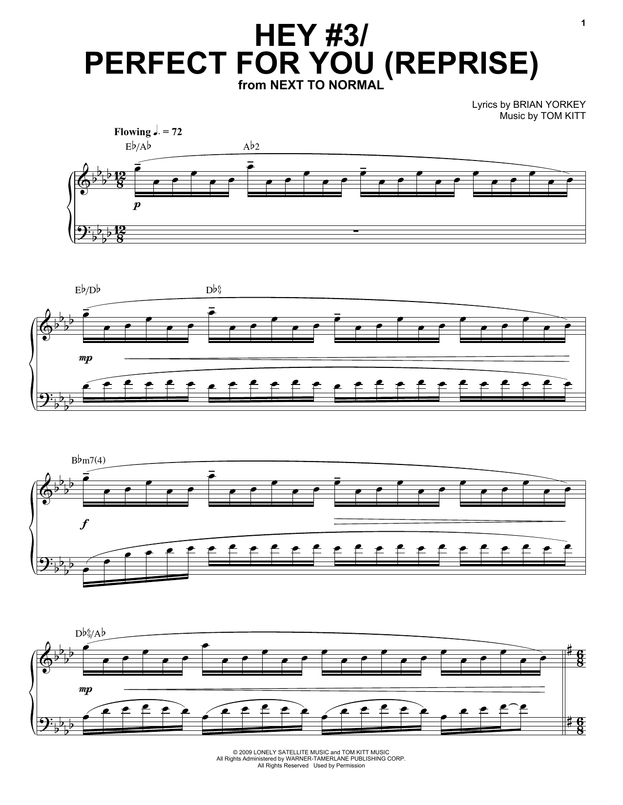 Jennifer Damiano & Adam Chanler-Berat Hey #3/Perfect For You (Reprise) (from Next to Normal) sheet music notes and chords