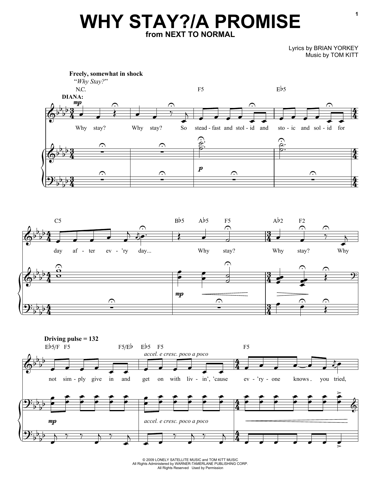 Jennifer Damiano & Adam Chanler-Berat Why Stay?/A Promise (from Next to Normal) sheet music notes and chords. Download Printable PDF.
