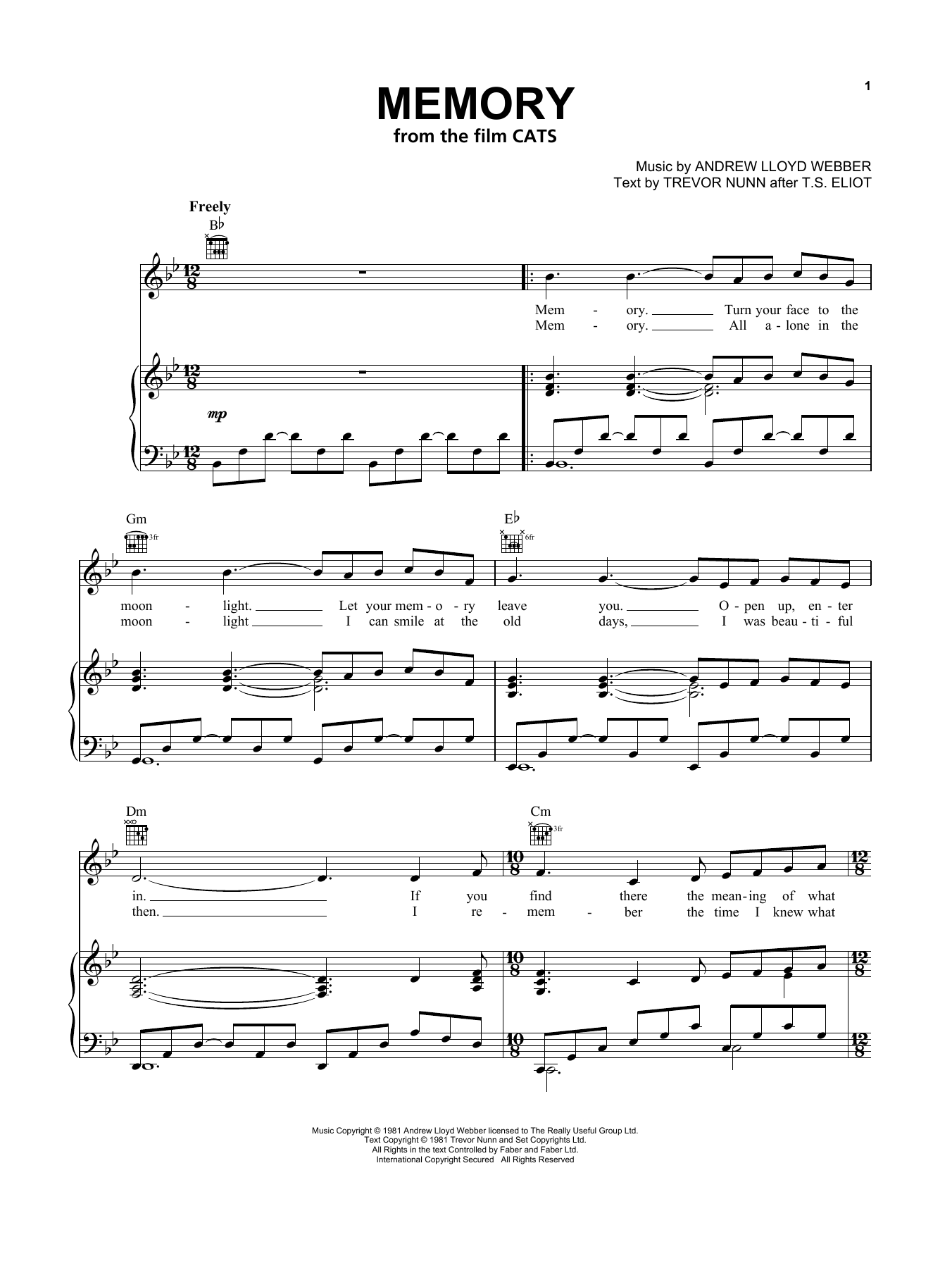 Jennifer Hudson Memory From The Motion Picture Cats Sheet Music Pdf Notes Chords Film Tv Score Piano Vocal Guitar Right Hand Melody Download Printable Sku 434824