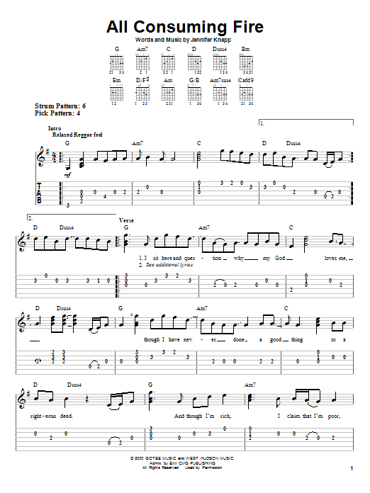 Jennifer Knapp All Consuming Fire sheet music notes and chords. Download Printable PDF.