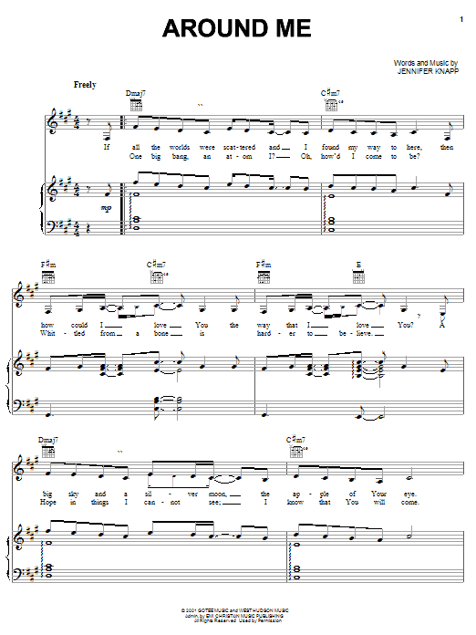 Jennifer Knapp Around Me sheet music notes and chords. Download Printable PDF.