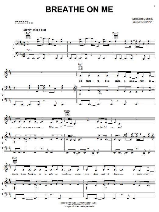 Jennifer Knapp Breathe On Me sheet music notes and chords. Download Printable PDF.