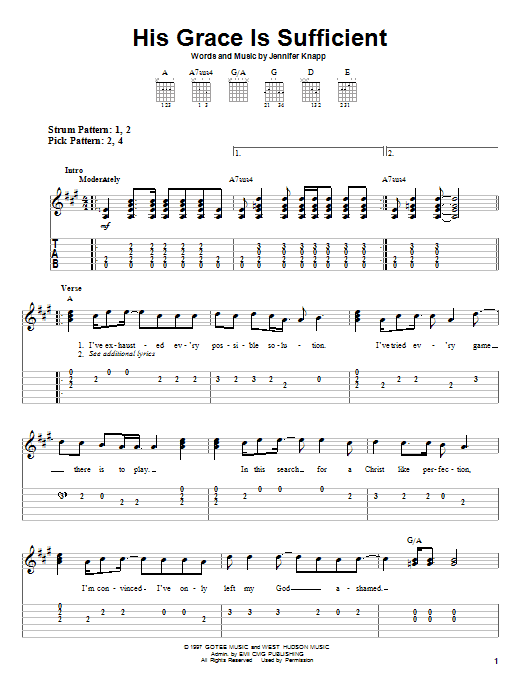 Jennifer Knapp His Grace Is Sufficient sheet music notes and chords. Download Printable PDF.