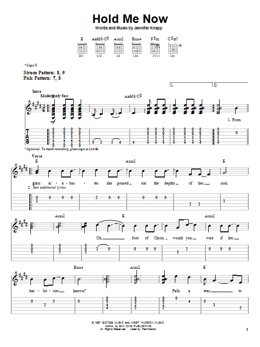 Jennifer Knapp Hold Me Now sheet music notes and chords. Download Printable PDF.