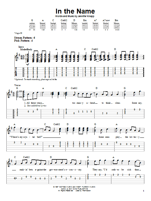 Jennifer Knapp In The Name sheet music notes and chords. Download Printable PDF.