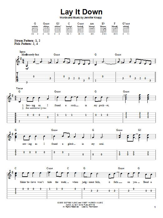 Jennifer Knapp Lay It Down sheet music notes and chords. Download Printable PDF.
