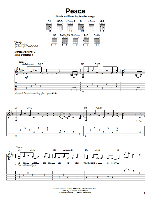 Jennifer Knapp Peace sheet music notes and chords. Download Printable PDF.