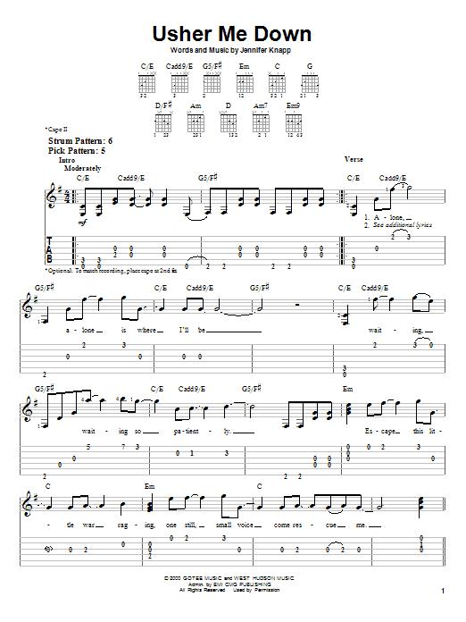 Jennifer Knapp Usher Me Down sheet music notes and chords. Download Printable PDF.