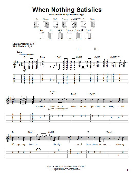 Jennifer Knapp When Nothing Satisfies sheet music notes and chords. Download Printable PDF.
