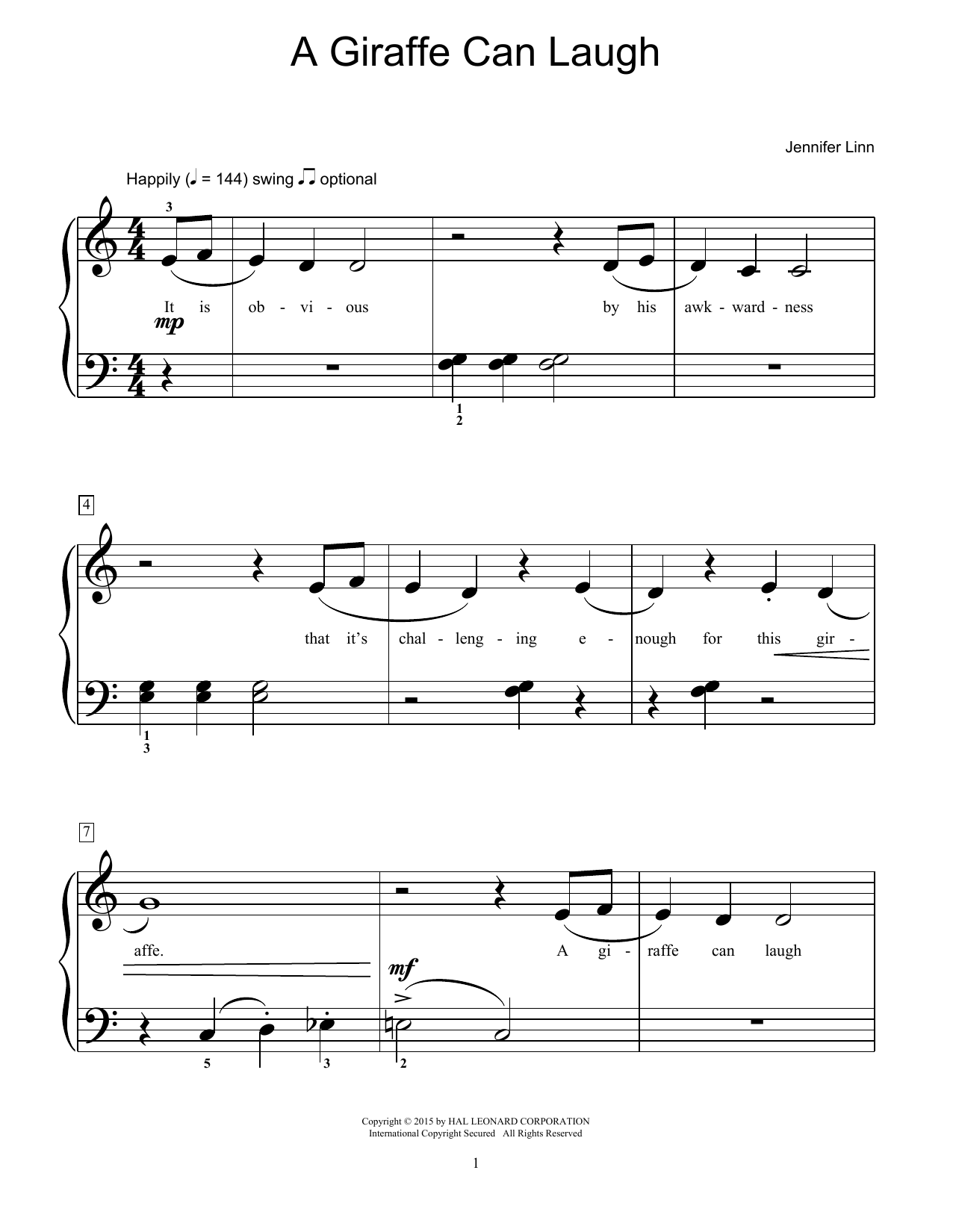 Jennifer Linn A Giraffe Can Laugh sheet music notes and chords. Download Printable PDF.