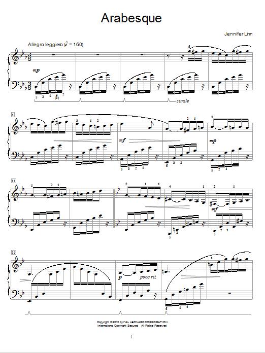 Jennifer Linn Arabesque sheet music notes and chords