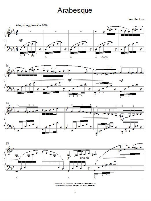 Jennifer Linn Arabesque sheet music notes and chords. Download Printable PDF.