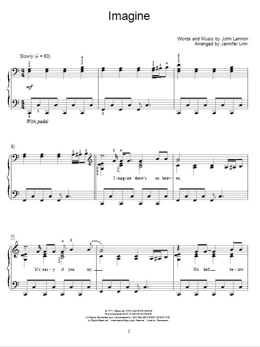Jennifer Linn Imagine sheet music notes and chords. Download Printable PDF.