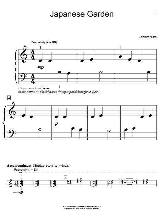 Jennifer Linn Japanese Garden sheet music notes and chords