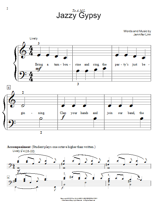 Jennifer Linn Jazzy Gypsy sheet music notes and chords. Download Printable PDF.