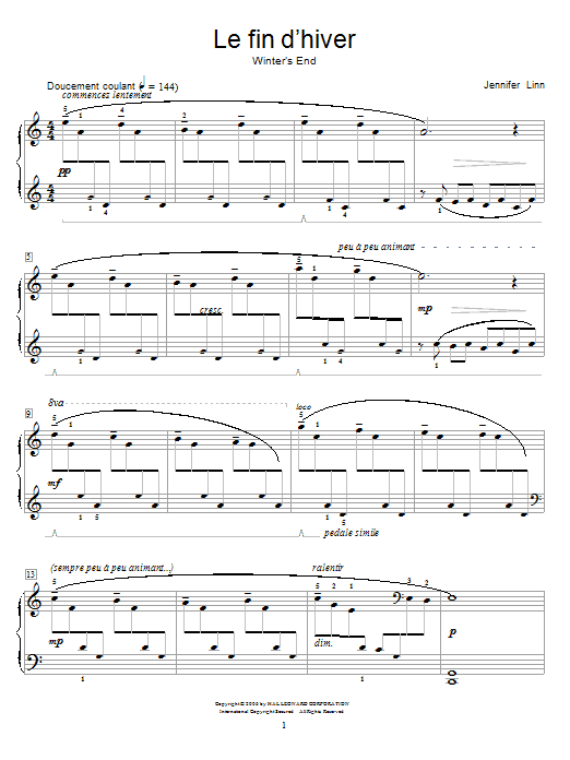 Jennifer Linn Le fin d'hiver (Winter's End) sheet music notes and chords. Download Printable PDF.