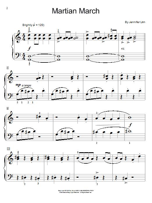 Jennifer Linn Martian March sheet music notes and chords