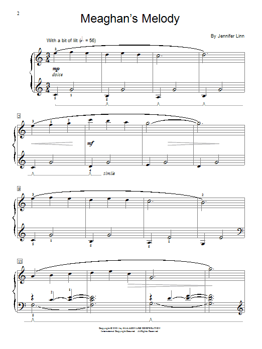 Jennifer Linn Meaghan's Melody sheet music notes and chords