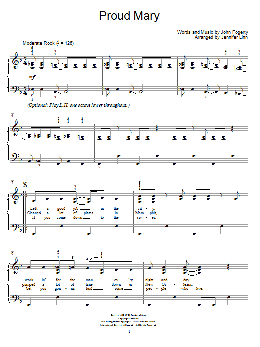 Jennifer Linn Proud Mary sheet music notes and chords. Download Printable PDF.