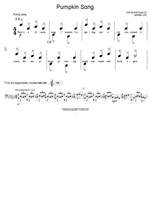 Jennifer Linn Pumpkin Song sheet music notes and chords