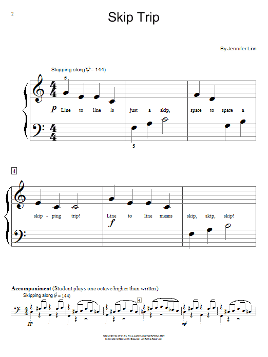 Jennifer Linn Skip Trip sheet music notes and chords