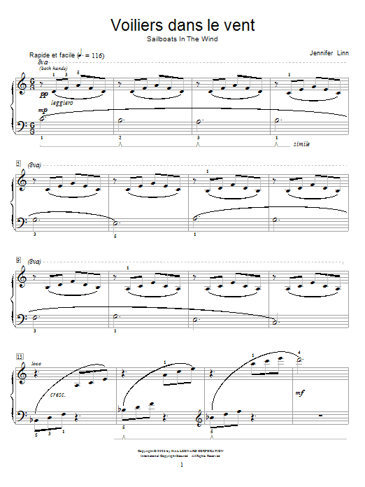Jennifer Linn Voiliers dans le vent (Sailboats In The Wind) sheet music notes and chords