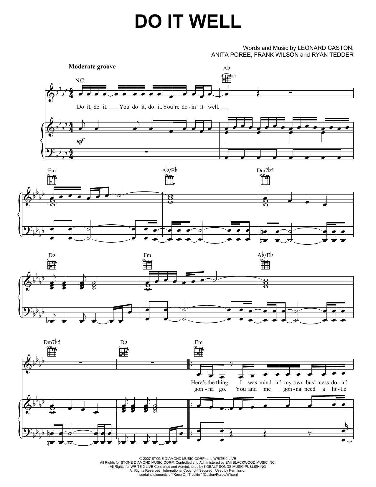 Jennifer Lopez Do It Well sheet music notes and chords