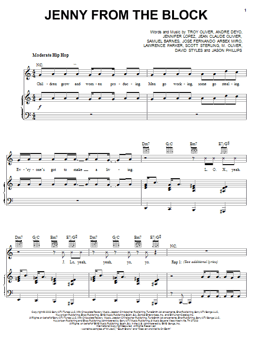 Jennifer Lopez Jenny From The Block (feat. Jadakiss & Styles) sheet music notes and chords. Download Printable PDF.