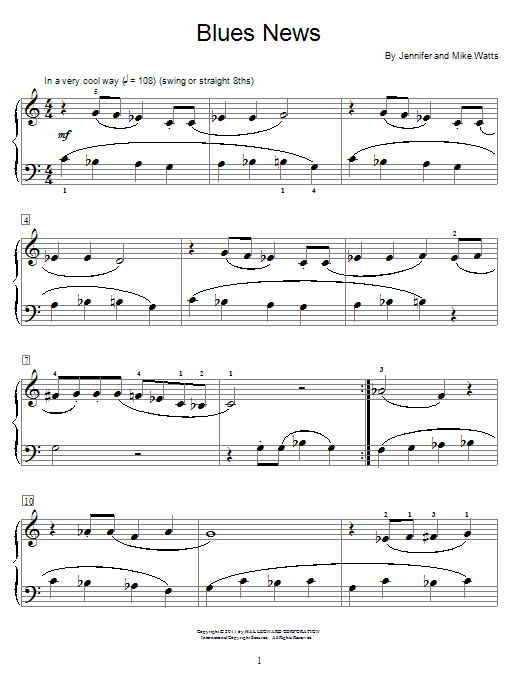 Jennifer Watts Blues News sheet music notes and chords. Download Printable PDF.